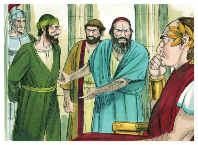 """Act 21:33-37 ESV  Then the tribune came up and arrested him and ordered him to be bound with two chains. He inquired who he was and what he had done.  (34)  Some in the crowd were shouting one thing, some another. And as he could not learn the facts because of the uproar, he ordered him to be brought into the barracks.  (35)  And when he came to the steps, he was actually carried by the soldiers because of the violence of the crowd,  (36)  for the mob of the people followed, crying out, """"Away with him!""""  (37)  As Paul was about to be brought into the barracks, he said to the tribune, """"May I say something to you?"""" And he said, """"Do you know Greek?"""